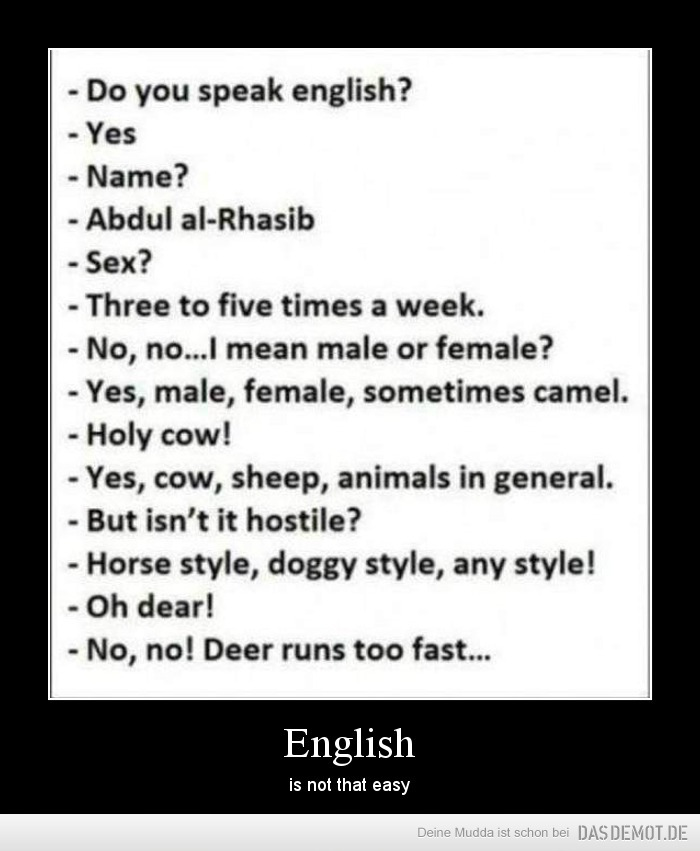 English – is not that easy