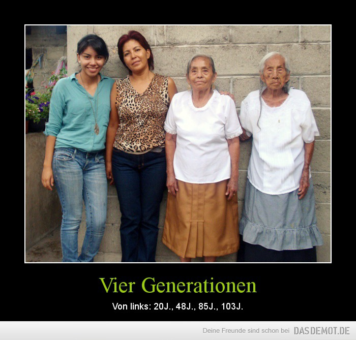 Vier Generationen – Von links: 20J., 48J., 85J., 103J.
